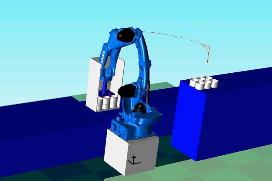 安川机器人在仿真软件制作出的动画抓拍图